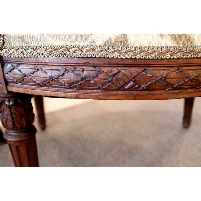 Louis XVI Style Neoclassical Carved Armchairs - a Pair For Sale - Image 9 of 10