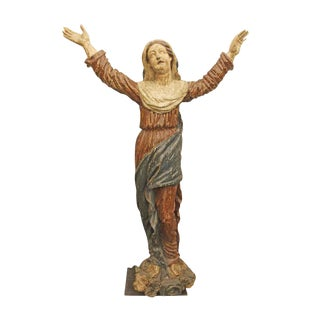 Late 19th Century Antique Hand Carved Wooden Saint Statue For Sale