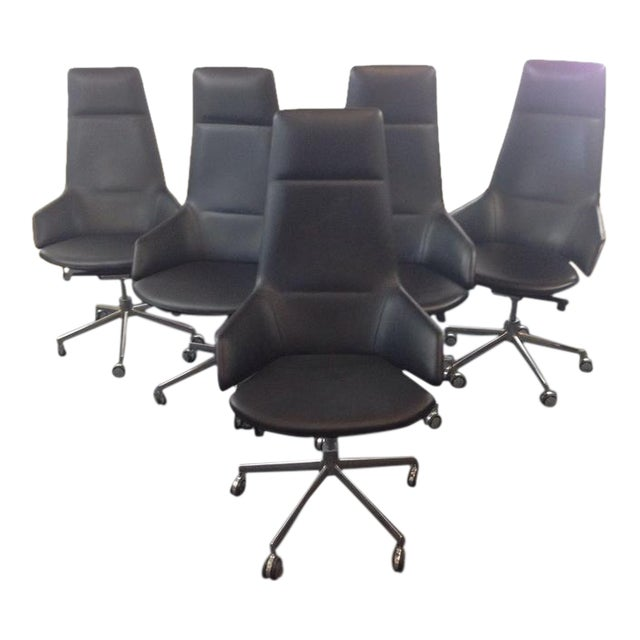 Jean-Marie Massaud Leather Upholstered 'Aston' Style Office Chairs - Set of 5 - Image 1 of 5