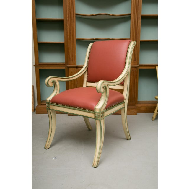 This is a decorative set of six cream-painted Regency style dining arm chairs highlighted with green. All chairs have both...