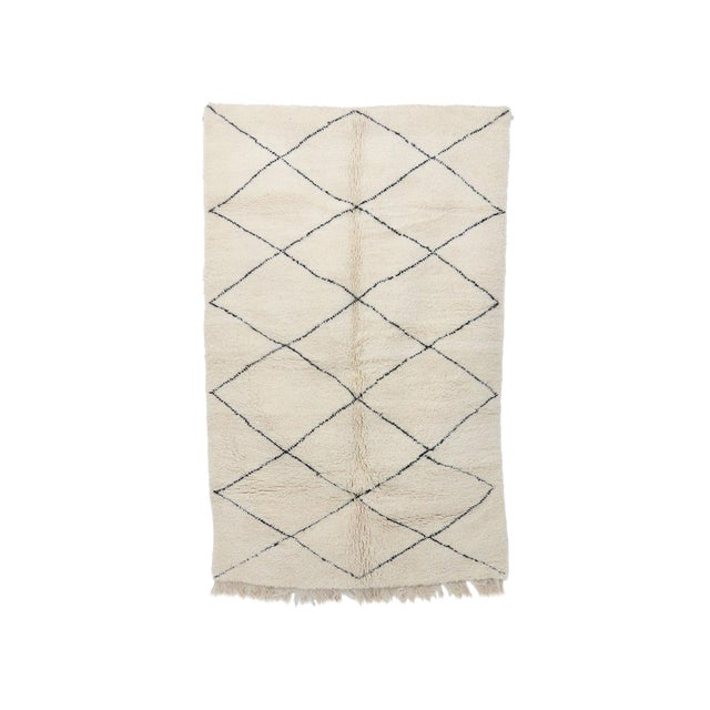 """Contemporary Beni Ourain Vintage Moroccan Rug - 5'1"""" X 8'4"""" For Sale"""