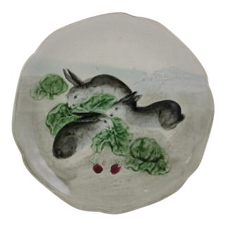 Choisy-le-Roi French Faïence Bunny Rabbit Plate For Sale