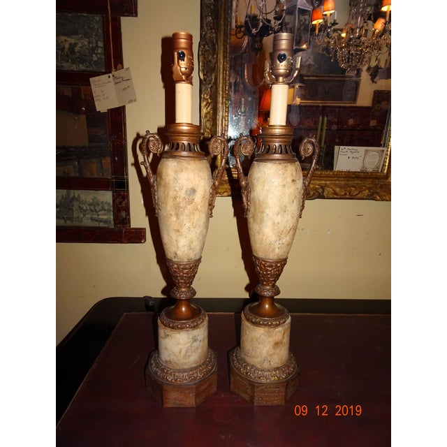 19th Century French Tole and Brass Lamps - a Pair For Sale - Image 12 of 12