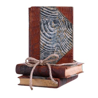 Antique Weathered Leather Gift Set of Three Decorative Books