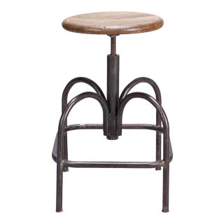1940s Adjustable Four-Legged Steel Industrial Stool With Wood Seat