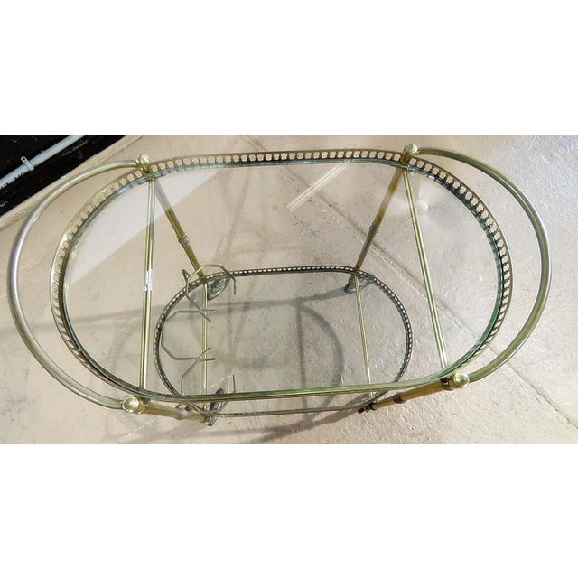 Italian Italian 2 Tier Brass Bar Cart For Sale - Image 3 of 5