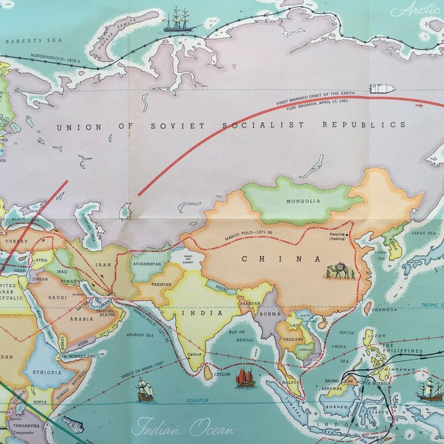 Vintage Map Journeys of Discovery and Exploration - Image 9 of 9