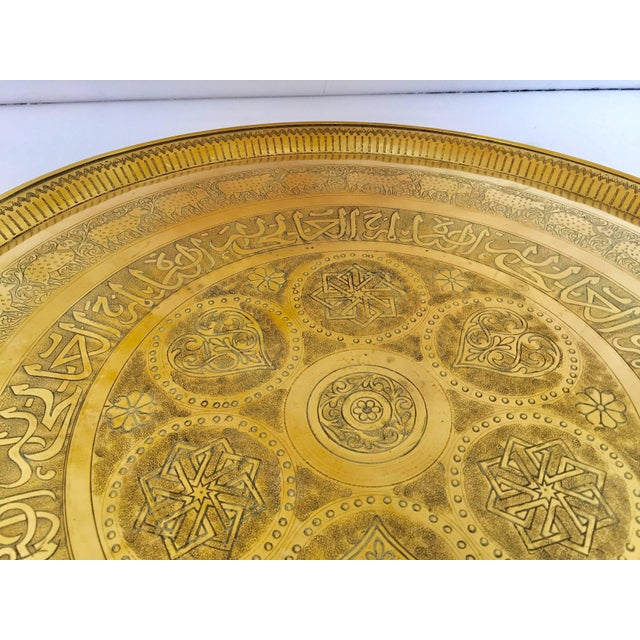 Indo-Persian Handcrafted Decorative Hammered Brass Tray For Sale - Image 10 of 13