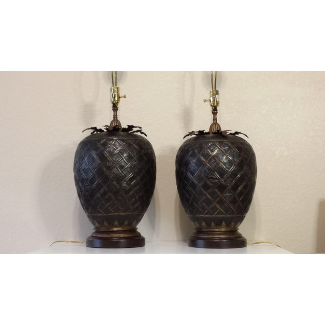 Traditional John Richard Brass Table Lamps - A Pair For Sale - Image 3 of 8