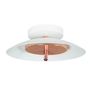 Modern White and Copper Signal Wall/Ceiling Light For Sale