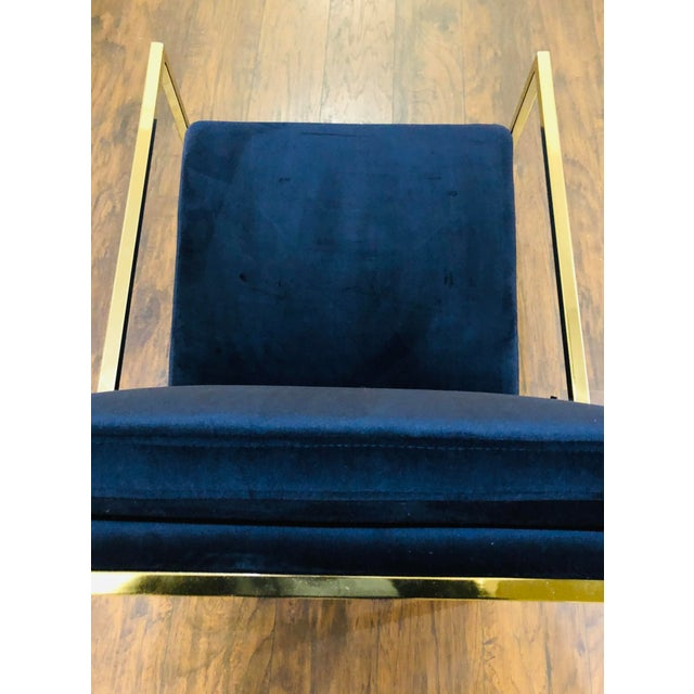 Bronze Vintage Mid Century Velvet Accent Chair For Sale - Image 7 of 9