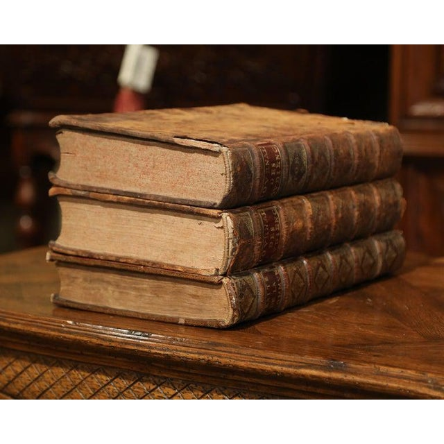 17th Century French Leather Bound Decorative Books Dated 1692-1700 - Set of 3 For Sale In Dallas - Image 6 of 11