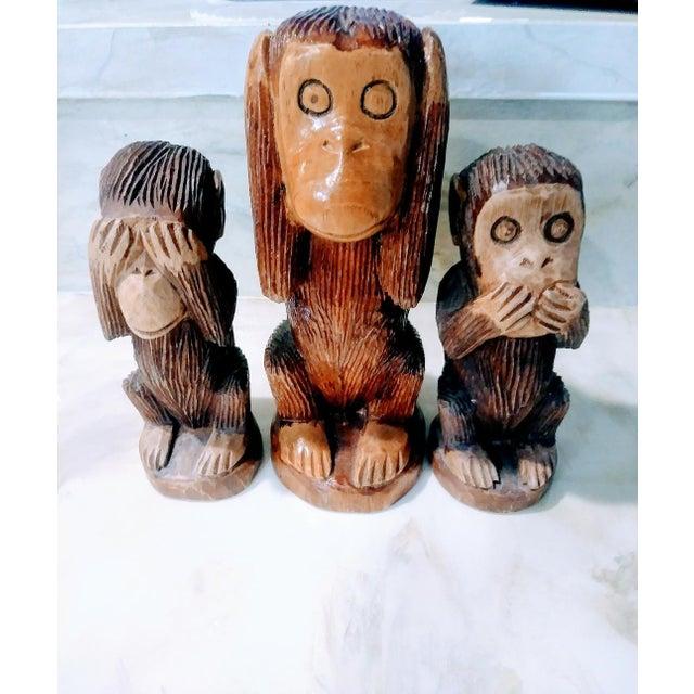 Wood Primitive See No Evil, Hear No Evil, Speak No Evil Wooden Monkey Statues - Set of 3 For Sale - Image 7 of 7
