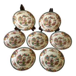 Hand Painted Antique Minton Appetizer Decorative Chinoiserie Plates - Set of 7 For Sale