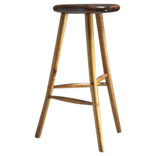 Michael Elkan Studio Crafted Walnut and Maple Stool, USA, 1980s For Sale