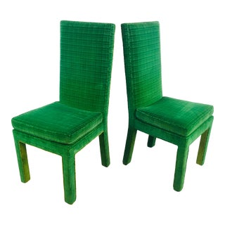 Upholstered Velvet Side Chairs, a Pair For Sale