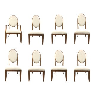 Maitland-Smith Mid-Century Modern Inspired Oval Back Dining Chairs-Set of Eight For Sale