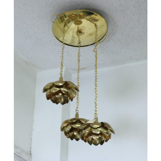 """Vintage condition Brass """"Lotus"""" Pendant Light by Feldman. The chandelier is brass with 3 hanging lotus tier. Has been..."""