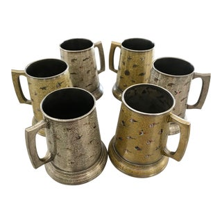 Vintage Bohemian Pewter & Enamel Glass Flora Fauna Bottom German Beer Tankards - Set of 6