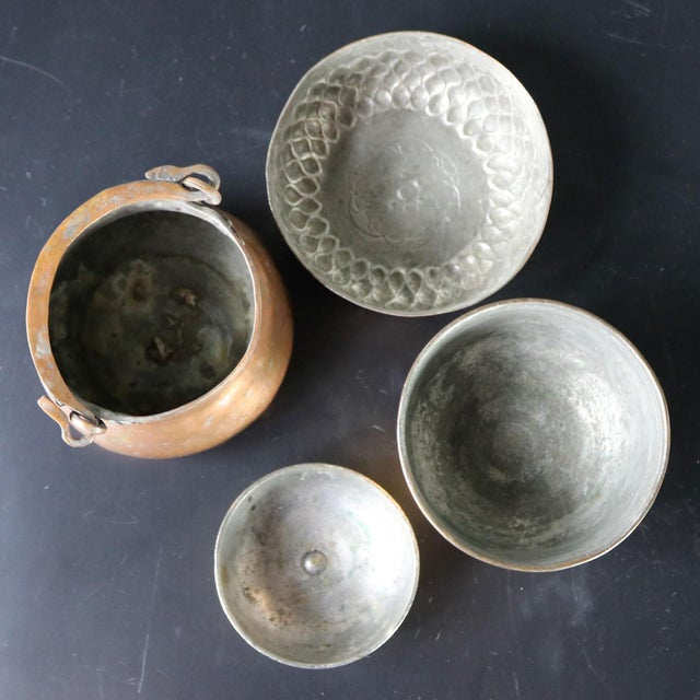 Antique Hand-forged Turkish Copper and Brass Bowls - Set of 4 For Sale - Image 9 of 13
