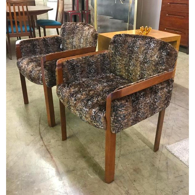 Fabric 1960's Faux Fur Side Chairs - A Pair For Sale - Image 7 of 7