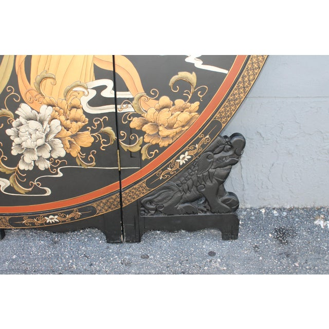 Wood Art Deco Oriental Round Carved Base/ Detailed Room Dividing Screen For Sale - Image 7 of 13