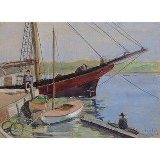 Vintage English Watercolor - Fareham Creek For Sale