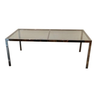 Chromed Steel Glass Parsons Style Dining Table by Milo Baughman For Sale