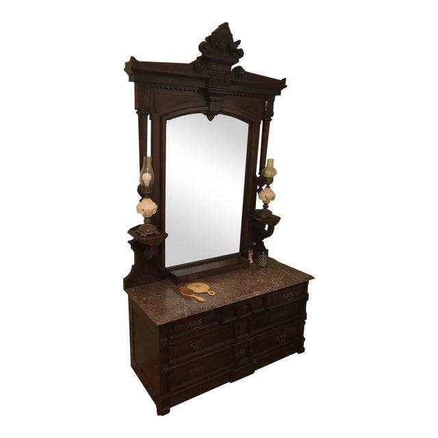 Walnut Renaissance Revival Vanity Dresser with Marble Top - Image 1 of 11