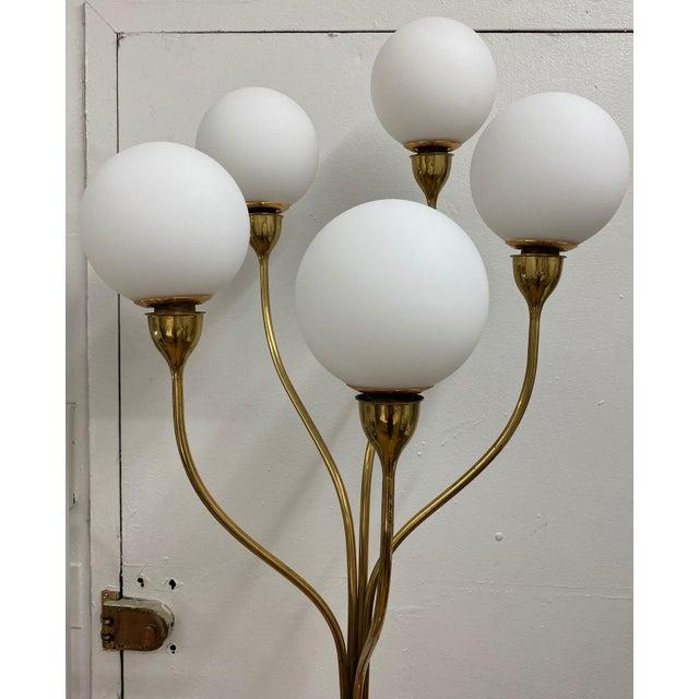 1970s Five-Globe Undulating Brass Floor Lamp For Sale - Image 4 of 12