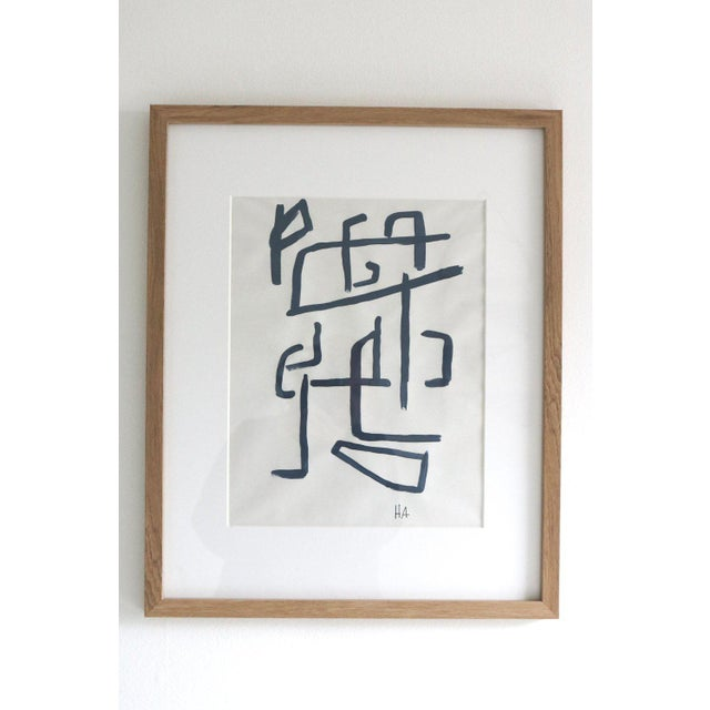 """Indigo on paper Line Series. Acrylic painting framed in white oak. 17"""" W x 21"""" H."""