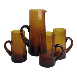 Vintage Amber Brown Pressed Glass Pitcher & Glasses - Set of 4