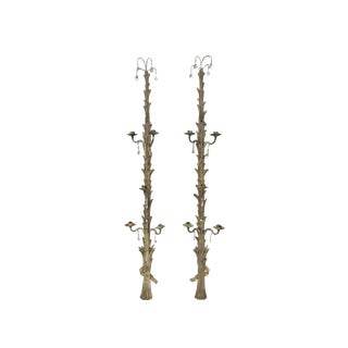 Antique French Tall Carved Wood and Crystal Candle Sconces - a Pair For Sale