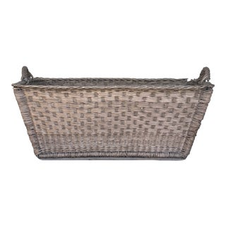 1940s French Wicker Storage Basket W/Double Handles For Sale