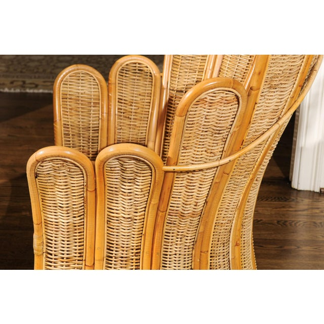 Majestic Restored Pair of Vintage Rattan and Wicker Palm Frond Club Chairs For Sale - Image 9 of 11