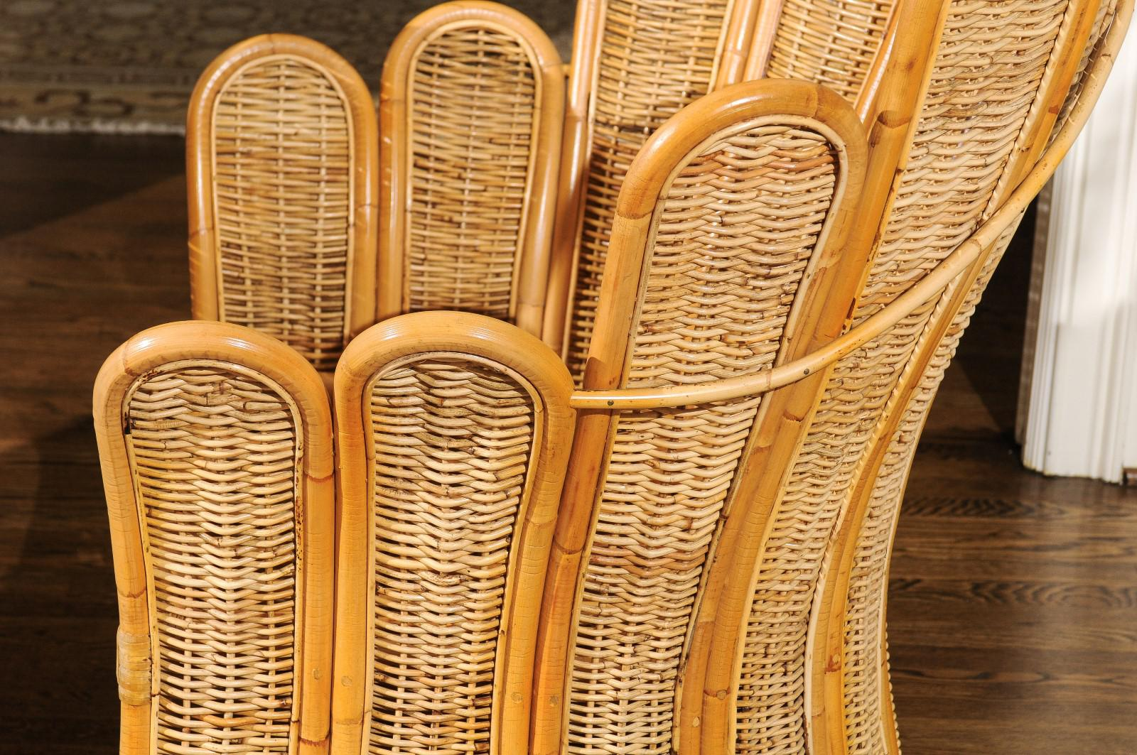 Majestic Restored Pair Of Vintage Rattan And Wicker Palm Frond Club Chairs    Image 9 Of