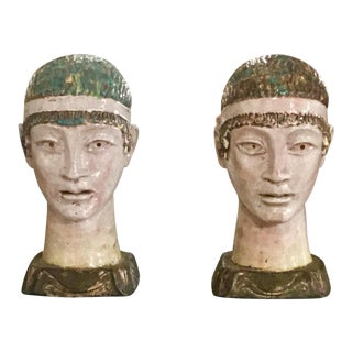 Pair of Unusual Mid Century Glazed Pottery Busts For Sale