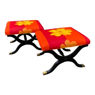 Pair of French Art Deco X Benches W Marimekko Seats For Sale