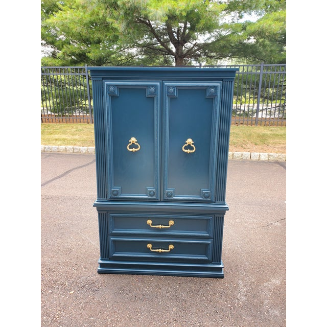 Boho Chic Vintage Moscow Midnight Blue Armoire For Sale - Image 3 of 12