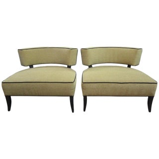 1940s Vintage James Mont Style Lounge Chairs- A Pair For Sale