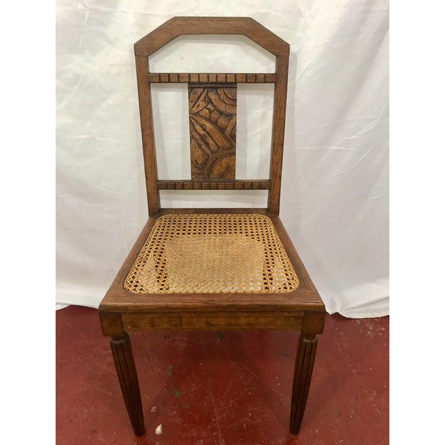 French Oak and Cane Art Deco Dining Chairs For Sale - Image 4 of 9