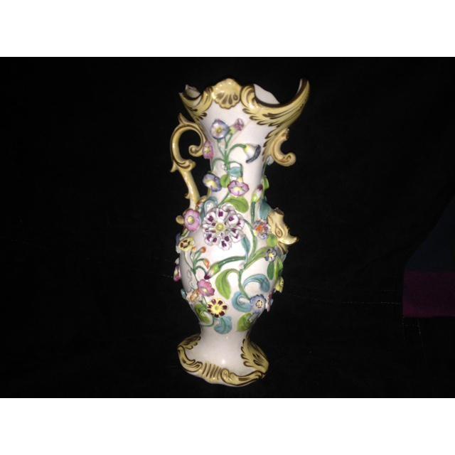 Antique Pastel Floral Porcelain Vase For Sale - Image 5 of 11