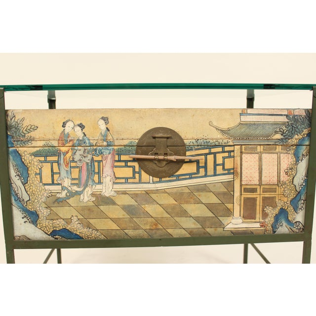 Chinese Polychrome Decorated Pigskin Occasional Table For Sale In Los Angeles - Image 6 of 13