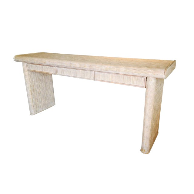 Whitewash Reeded Console Table For Sale