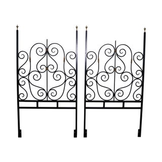 Black Painted Iron & Brass Twin Headboards
