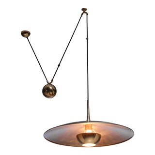 Florian Schulz brass Onos pendant with counterweight, Germany, 1970s For Sale