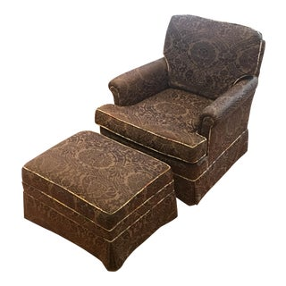 1980s Vintage Club Chair and Matching Ottoman For Sale