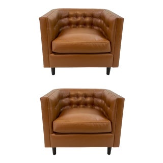 Drexel Heritage Cognac Leather Buttoned Up Club Chairs Pair For Sale