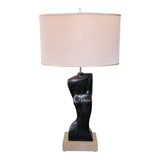 1950s Yasha Heifetz Mid-Century Modern Cerused Oak Nude Woman Torso Figural Modernist Table Lamp For Sale