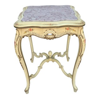 Italian Provincial Pink Marble Top Occasional Table For Sale
